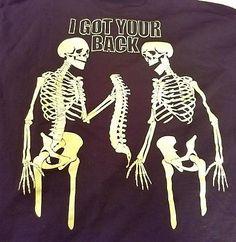 Halloween Men's Skeleton I Got Your Back Glow in Dark Black T-Shirt Size 2XL XXL