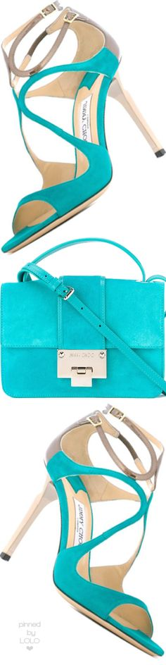 Jimmy Choo teal shoes and bag Pierre Turquoise, Shades Of Turquoise, Aqua Blue, Shoe Boots, Shoes Sandals, Shoe Bag, Mode Orange, Turquoise Fashion, All About Shoes
