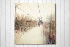 BOGO SALE- White, Wall Decor, Nature Photography, Winter, skiing, chairlift, trees, country, cottage -Snow Day. $30.00, via Etsy.
