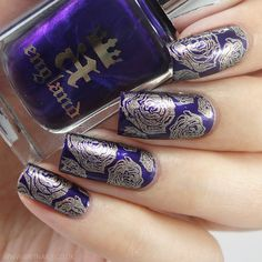 A-England 'The Blessed Damozel' stamped using A-England 'Virgin Queen' and Bundle Monster stamp BM-323  ~ by Brit Nails
