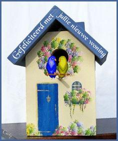"Blue & Cream, Outdoor Birdhouse by Cathie at ""The Sparrow Inn"" Etsy shop ~ bird house cottage shabby chic hand-painted Bird Houses Painted, Painted Birdhouses, Blue Roof, Bird Boxes, Tole Painting, Fairy Houses, Bird Feeders, Kitsch, Decoupage"