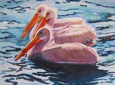 White Pelicans Sea Shore Birds Wildlife by BarbaraRosenzweig, $52.00