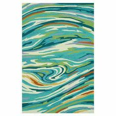 "Hand-hooked rug with an abstract swirl motif. Product: RugConstruction Material: PolyesterColor: Teal and multi  Features: Hand-hooked   Pile Height: 0.5"" Note: Please be aware that actual colors may vary from those shown on your screen. Accent rugs may also not show the entire pattern that the corresponding area rugs have."