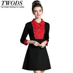 L- 5XL Autumn Dress Luxury Beading Detail Contrast Color Collar Slim Fit Flare Mini Black And Red Just look, that`s outstanding! http://www.artifashion.net/product/l-5xl-autumn-dress-luxury-beading-detail-contrast-color-collar-slim-fit-flare-mini-black-and-red/ #shop #beauty #Woman's fashion #Products