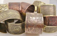 Floral  Etched Brass Cuff Bracelet. $30.00, via Etsy.