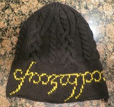 Free knitting pattern for One Ring Cable Hat and more Lord of the Rings knitting patterns