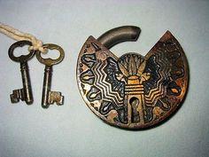 Under Lock And Key, Key Lock, Padlocks, Antique Bottles, Vintage Keys, Skeleton, Aztec, Antiques, Pattern