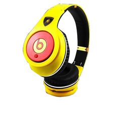 Monster Beats By Dr Dre Studio Headphones High Performance Lamborghini Yellow with Red Discount Sale