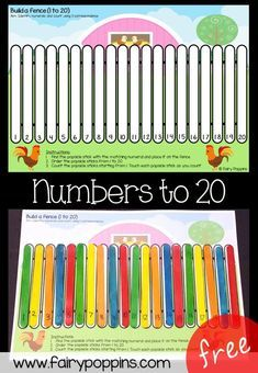 Fence Number Ordering Mats Free order numbers to 20 activity fairy poppinsFree order numbers to 20 activity fairy poppins Teaching Kindergarten, Preschool Activities, Teaching Kids, Learning Numbers Preschool, Teaching Numbers, Early Learning Activities, Pre K Activities, Ordering Numbers, Farm Theme