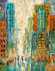 "Daily Painters Abstract Gallery: Cityscape Art, Rainy City, Abstract Street Scene ""Shopping Bags"" by Texas Artist Debra Hurd"