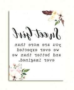 Sweet Girl Sign, you are more than we ever expected, Baby Girl Nursery Quote, Baby Girl Nursery Deco - Best Baby Girl Nursery ideas Baby Girl Nursery Pink And Grey, Baby Girl Nursery Themes, Baby Girl Nursery Decor, Floral Nursery, Nursery Room, Nursery Ideas, Room Ideas, Nursery Quotes, Girl Sign