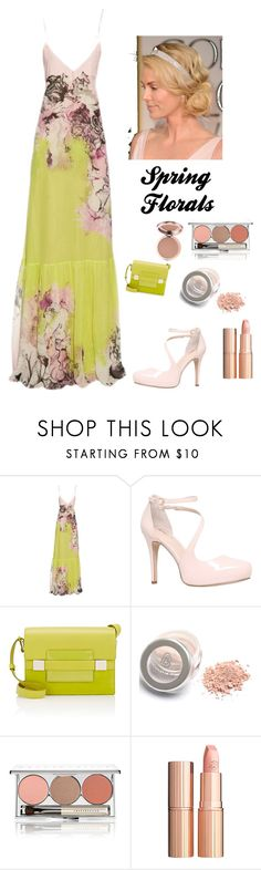 """""""Spring Florals"""" by kotnourka ❤ liked on Polyvore featuring Roberto Cavalli, Carvela, Delvaux, Chantecaille and Charlotte Tilbury"""