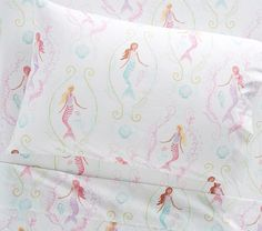 Accent their sleep space with whimsical, under-the-sea style. Featuring colorful mermaids and playful aquatic scenes, this sheet set is crafted from pure organic cotton so it's the softest place to sleep. Pottery Barn Kids, Kids Sheet Sets, Piercings, Nursery Bedding, Girl Nursery, Girl Room, Cotton Sheet Sets, Moda Emo, Baby Furniture