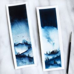 Landscape watercolour bookmark by karfpaperie Watercolor Landscape, Watercolour Painting, Painting & Drawing, Watercolors, Painting Inspiration, Art Inspo, Art Sketches, Art Drawings, Kunst Inspo