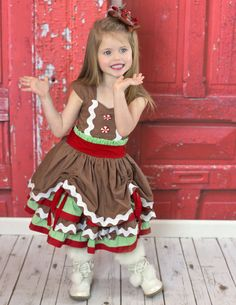 Girls Gingerbread Dress  Girls Christmas by WaverlyWadeDesigns
