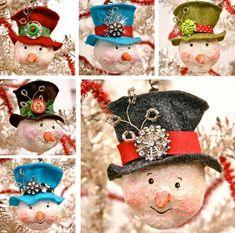 Snowman head ornaments