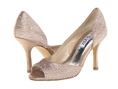 I like these. Good height.  rsvp Monaco  $79.00 Heel Height: 2 3⁄4 in Comes in silver, black & champagne