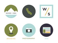 Wood + Sea Co. – Simple Icons and nice color palette.  #graphicdesign #formgivning