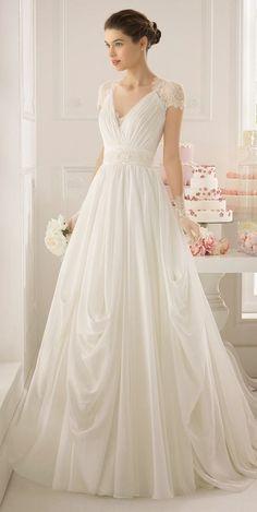 Aire Barcelona cap sleeves wedding dress / http://www.deerpearlflowers.com/wedding-dresses-with-cap-sleeves/2/