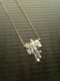 Gold Crystal Pendant Quartz Clear Crystal Point by SinusFinnicus