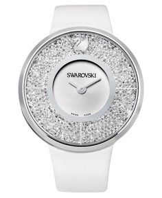 Swarovski Watch, Women's Swiss Crystalline White Calfskin Leather Strap; Crystal and stainless steel with calfskin strap, swarovski.
