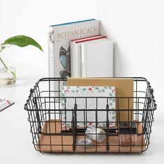 Could be good for bathroom shelf if I get the Ikea shelf I saw to replace small white cabinet PLEJA Wire basket with handle, black black 14 Wire Basket Decor, Black Wire Basket, Wire Basket Storage, Metal Baskets, Basket Decoration, Ikea Shelves, Ikea Storage, Small Storage, Craft Storage