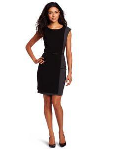 Calvin Klein Women's Belted Dress, Black/Charcoal, 12