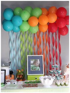 cute idea for a birthday backdrop... streamers and balloons