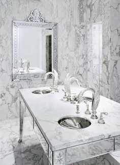 Luxury Marble Bathroom at Hotel Faena Buenos Aires by Philippe Starck.