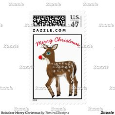 Reindeer Merry Christmas custom Postage Stamps.  Cute button buck Super Snow the Blue-Eyed Reindeer with a Red Nose.  Visit store for Letters from Santa, plus more unique designs for all occasions.  Original Graphic Artwork design by TamiraZDesigns.