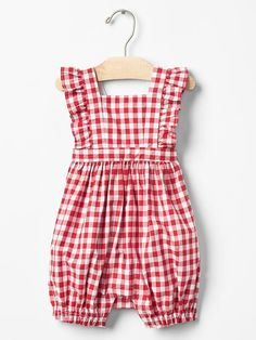 Gingham flutter shortie one-piece