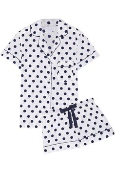 Where to buy chic summer sleepwear from @stylecaster | Three J NYC Eloise Polka-Dot Cotton-Poplin Pajama Set, $115; at Net-a-Porter