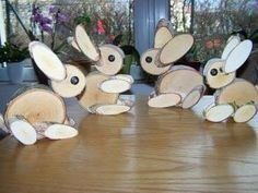 Easter Bunny Wooden Bunny Wooden figure made of solid birch wood deco nature 2 pieces Wood Log Crafts, Wood Slice Crafts, Diy Wood Projects, Christmas Wood, Christmas Crafts, Diy And Crafts, Crafts For Kids, Crafts To Sell, Wood Animal