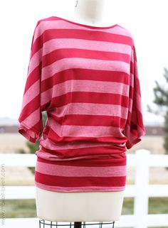 Tutorial: Dolman shape shirt, with a banded bottom.