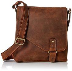 Visconti Hunter Oiled Distressed Leather Messenger Shoulder Bag, Tan, One Size