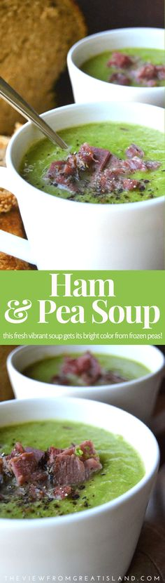 and Pea Soup Hearty and vibrant Ham and Pea Soup made with fresh frozen peas will warm up the coldest night!Hearty and vibrant Ham and Pea Soup made with fresh frozen peas will warm up the coldest night! Supper Recipes, Easy Dinner Recipes, Great Recipes, Soup Recipes, Healthy Recipes, Easy Recipes, Dinner Ideas, Favorite Recipes, Amazing Recipes