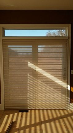 """Window treatment ideas for sliding glass doors - """"Window Shadings"""" is an alternative to vertical blinds on a patio door or any large window. http://www.toledo-window-treatments-windows-blinds-coverings-drapery.com/"""