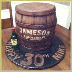 Jameson Barrel Cake – Cake by Keri's Kreations - Barrel Diy 60th Birthday, 30th Birthday Cakes For Men, Man Birthday, Whiskey Barrel Cake, Whiskey Cake, Liquor Cake, Bottle Cake, Themed Cakes, Team Groom