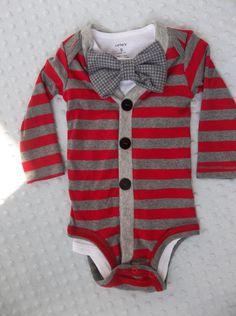 Cardigan Onesie Houndstooth Bowtie  for a Preppy Baby Boy