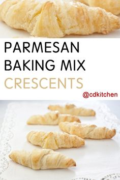 Bisquick comes to the rescue with this simple way to make crescent rolls (that don't come from a can). Made with buttermilk baking mix, water, butter, Parmesan cheese   CDKitchen.com