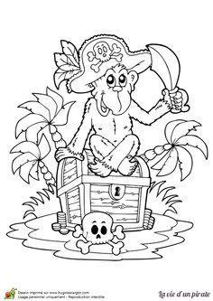Coloriage d'un singe de pirate s'assoyant sur un coffre au trésor, le chapeau à la tête et l'épée à la main.