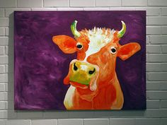 30x40 Cow Painting Canvas Art Original Orange and by LoganBerard, $400.00