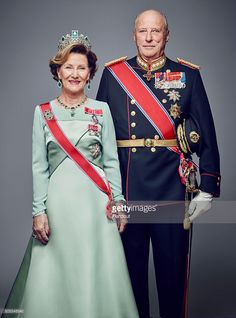 In this handout photo provided by the Royal Court, King Harald V of Norway and Queen Sonja of Norway pose for an official photograph from the Royal Court on January 15, 2016 in Oslo, Norway.