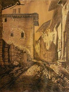 Combes Fernand - Enhanced charcoal - Pérouges, rue des Rondes, le Grenier à Sel - 47.7x64.3cm; dessin daté de Mai 1919. Le Grenier à Sel est un bâtiment du village médiéval de Pérouges qui date de 1536; l'artiste y a séjourné au printemps et à l'été 1919.