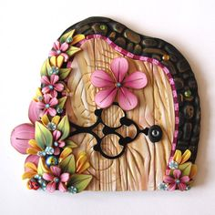 Spring Garden Fairy Door Pixie Portal Handmade Fairy by Claybykim, $24.00