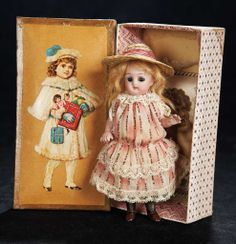 German All-Bisque Miniature Doll, 890, by Simon and Halbig in Presentation Box 400/600