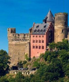 Schoenburg Castle: The ornate rooms of Schoenburg Castle, in Oberwesel, Germany, offer magnificent views of the Rhine River, flowing far below.