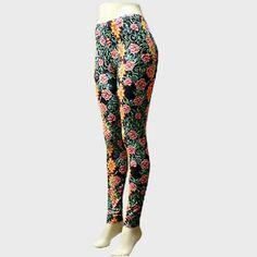 "Aztec Pattern & Flower Print Leggings Color : Black Theme : Flower & Leaf Size : 16"" W, 37"" L Fabric : Polyester Aztec Pattern & Flower Print Leggings Pants Leggings"