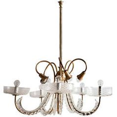 Ten Arm Glass And Gilt Bronze Chandelier By Barovier Toso C.1930