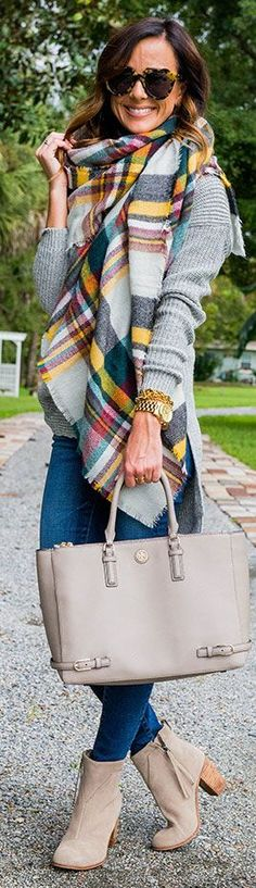 Plaid Blanket Scarf Sweater Tunic Fall Inspo by Sequins & Things